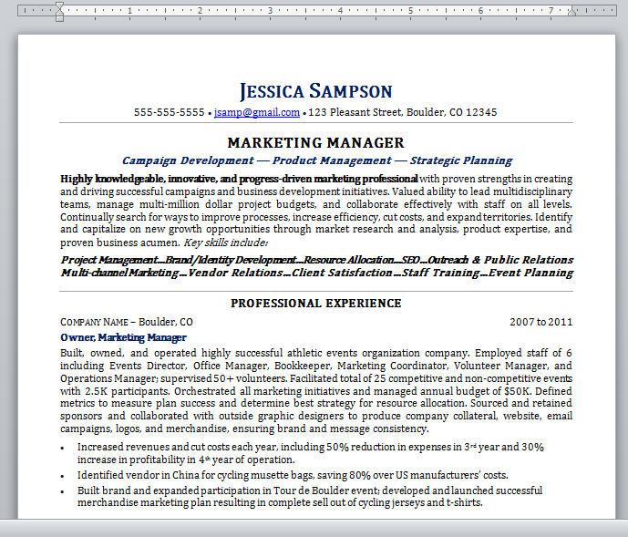 Plain Text Resume 2